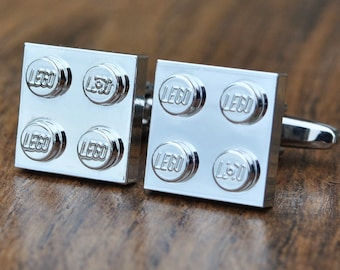 Chrome LEGO ® Plate Cufflinks - Silver, Gold, Blue, Red and Green