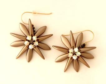 Beaded Dagger Earrings, Spiky Earrings, Dangle earrings, Swarovski Earrings