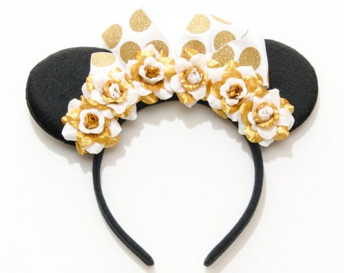 Gold White Mouse Ears Headband