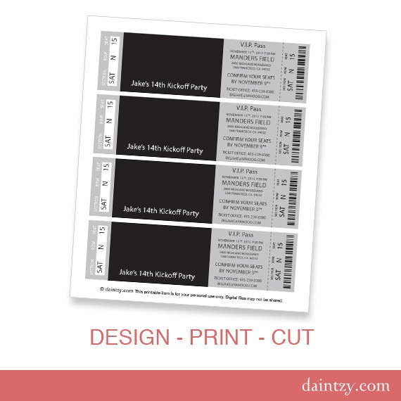 Event ticket photo invitation template printable diy make for Stag tickets template free