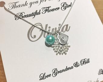 Flower girl necklace, Snowflake Necklace, bridesmaid necklace gift, flower girl necklace gift idea, winter wedding, wedding jewellery,