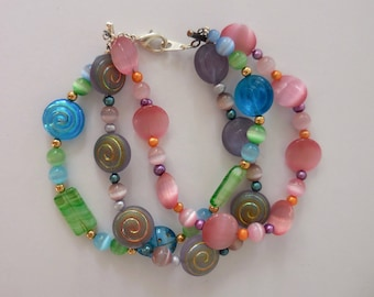 3-Strand Glass Bead Bracelet