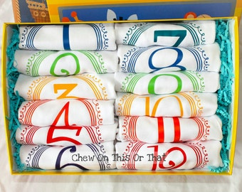 Boys 12 Months Complete Birth Bodysuit Gift Set, Primary Color Baby Milestone, Monthly Shirts Set, Birthday Anniversary, Photo Props Shower