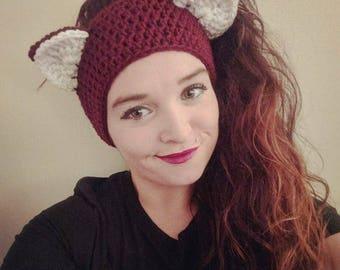 Crochet Aubergine Kitty Ear Warmers