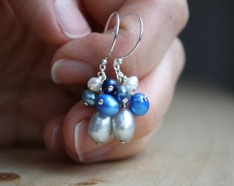 Grey Pearl Earrings Dangle . Cluster Pearl Earrings . Molecular Science Jewelry . Freshwater Pearl Earrings Sterling Silver