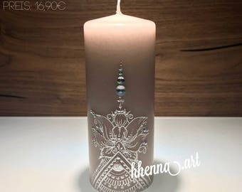 Henna candle, personalized, 0009a