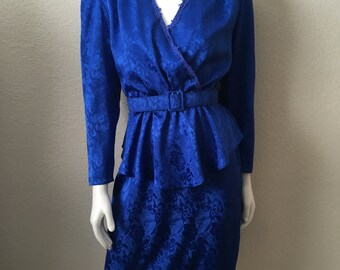 Vintage Women's 80's Peplum Dress, Royal Blue, Long Sleeve by Patra (M)