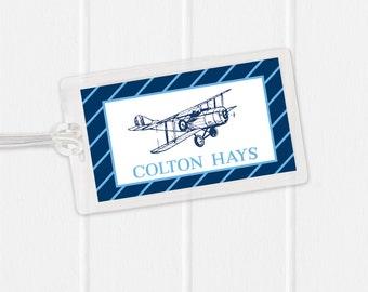 Airplane Bag Tag - Vintage Airplane Bag Tag - Diaper Bag Tag - Kids Bag Tag Luggage Tag