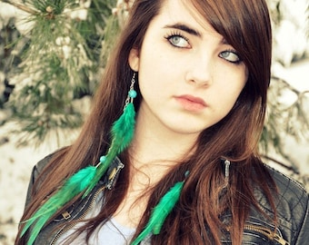 Long Feather Earrings - Green Feather Earrings, Turquoise Feather Jewelry - Emerald Wings