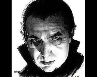 "Print 8x10"" - Dracula - Bela Lugosi Frankenstein Vampire Halloween Classic Monster Universal Pop Art Gothic Zombie Lowbrow Horror Wolfman"