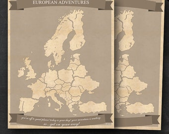 """European Travel Maps - Printable Europe Travel Map Instant Download - 16""""x20"""" EU Wall Art - 2 pack - With Text or Add your own text"""