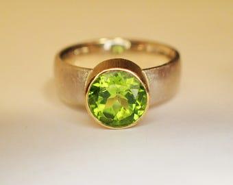 ring SILVER GOLD PERIDOT
