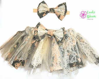 Military Baby Shabby Chic Camo Army ACU Tulle Lace Tutu and Matching Hair Bow