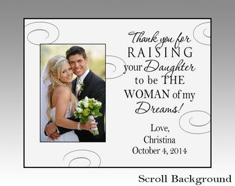 Thank you for raising your daughter, personalized wedding picture frame, wedding picture frame, parent wedding gift, wedding gift for parent