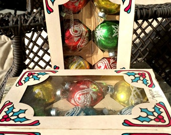 Holly Glass, Christmas Ornaments, Vintage, Mercury glass, 2 Boxes of 6