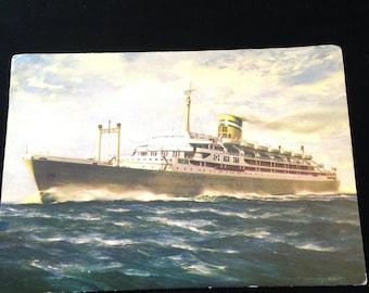 Vintage Cruise Ship Liner Santa Maria Postcard Transportation