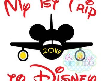 Airplane First Disney Trip IRON ON TRANSFER - Tshirt - Bodysuit - Tote Bags - First Disney Trip - Disney Birthday