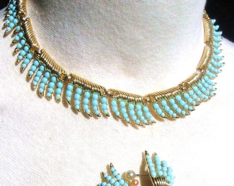 50s Crown Trifari Whirlwind Set Signed, Vintage Necklace & Earrings, Faux Turquoise + Gold Tone, 1957 Advertised Mid Century Jewelry
