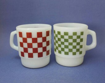 Fire King Checkered Mugs, Red and Green