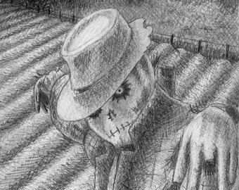 "Scarecrow blank greeting card, 7""x5"""