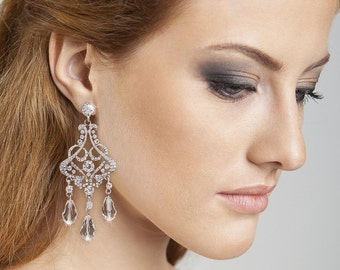 Glam wedding earrings Gorgeous Chandelier earrings Big earrings Girlfriend gift for her Crystal earrings  Bridal earrings Statement earrings
