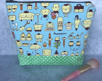 Girls Sanrio Pompompurin Cotton Makeup Bag Cosmetic Zipper Bag Pencil Pouch Knitting Bag