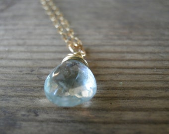 March Birthstone, Aquamarine Necklace, Rough Finished Aquamarine Jewelry, Minimalist Blue Pendant Necklace, 14k Gold Filled, Gift For Her