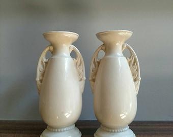 Vintage Art Deco Cream Vases
