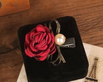 Floral Rose Bow Pearl hair clips/Red and Black/ Wedding/Cute / Hair Alligator Clip hair accessory