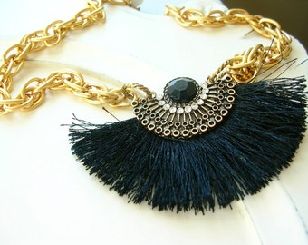 """Black Silk and Rhinestone Statement Necklace on Gold Plated Brass Chain, 16 1/2"""""""