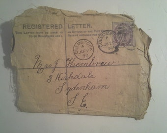 Inland Registered Letter Post  1890 Letter with One Penny postage  Culmstock  United Kingdom
