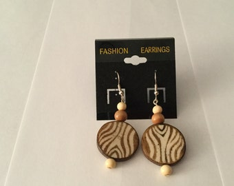 Wooden stripped earrings