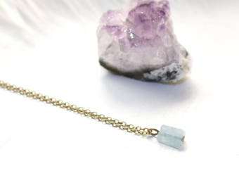 Raw Crystal Necklace, Tiny Crystal Necklace, Aquamarine Necklace, Aquamarine Jewelry, Minimalist Jewelry, March Birthstone Necklace
