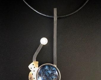 Pietersite & Pearl Pendant