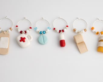 Medical wine charms (6) - hand sculpted in polymer clay