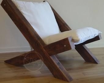 Barn Wood Arm Chair. Reclaimed Wood Lounge Chair. Fabric Lounge Chair