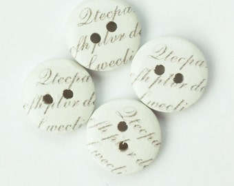 Wedding Button - Crafts for Weddings - 15 mm button half in button - Scrapbook Button, Notions, Embellishment, Craft Supplies, Wood Buttons