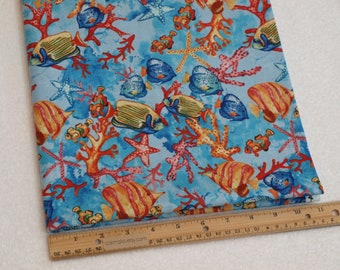 1/2 Yard Novelty Cotton Fabric Tropical Fish in Coral