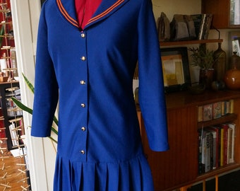 vintage 60s blue orange pleated school dress drop waist sailor collar mod twiggy 1960s 1970s 70s