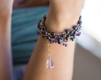 Black Baroque Pearl, Amethyst Necklace - Raindrops - long beaded necklace, long bohemian necklace, Bohemian Wedding LIMITED EDITION