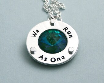 We Run As One - Swarovski Crystal Necklace - Hand Stamped Sterling Silver - Motivational Agility Jewelry
