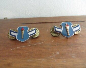 Pair of US Air Force ROTC Cadet Metal Badges & Clutchback Pins w/free ship