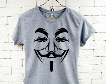 New The Guy Fawkes Anonymous Mask Cool Gray T-Shirt For Women