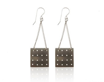 Perforated Sterling Square Earrings