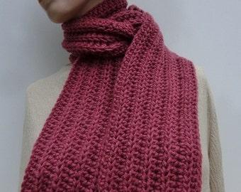 Dark Dusty Rose Scarf - Crocheted Rose Scarf