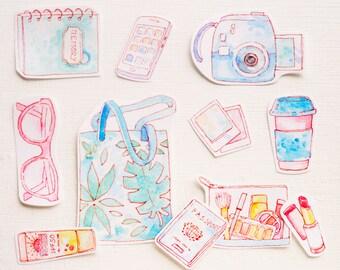 Travel Diary Stickers Kit   Journal, Traveler's Notebook & Filofax   Wanderlust, Vacation, Summer Scrapbook Art   Handmade Sticker Flakes