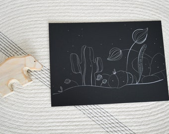 Cactus, flowers, black and white, Illustration, Print 5x7