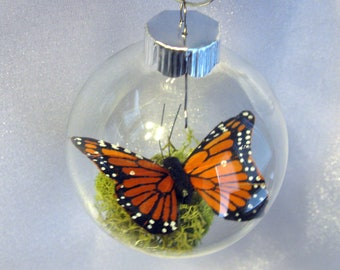 Butterfly Christmas Ornament - Monarch Captive Inside Clear Glass World