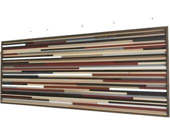 Wall Art - Wood Wall Art - Reclaimed Wood Art Sculpture - Modern Wall Art/Abstract Painting on Wood 72x30
