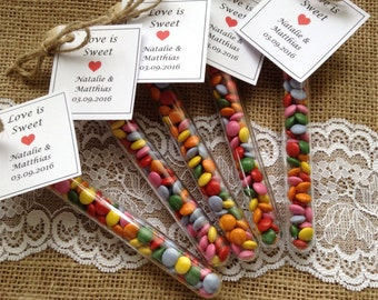 Test tube favours Love is sweet Wedding favors Party favors children's favours